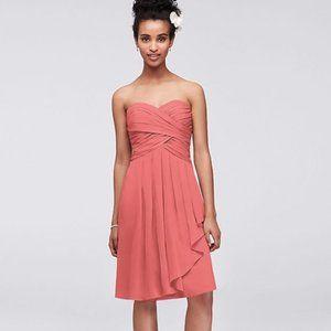 David's bridal Short Crinkle Chiffon Dress Size 0